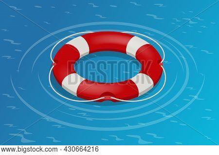 Isometric Rescue Life Belt, Marine Lifebuoy Water Safety. Isolated On White Background. Lifebuoy.