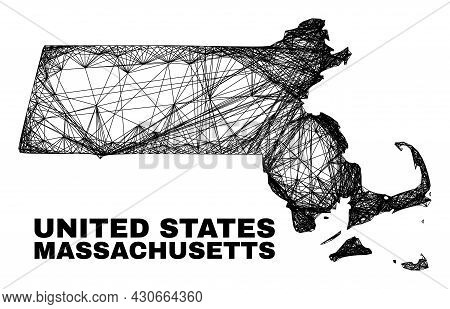 Net Irregular Mesh Massachusetts State Map. Abstract Lines Are Combined Into Massachusetts State Map
