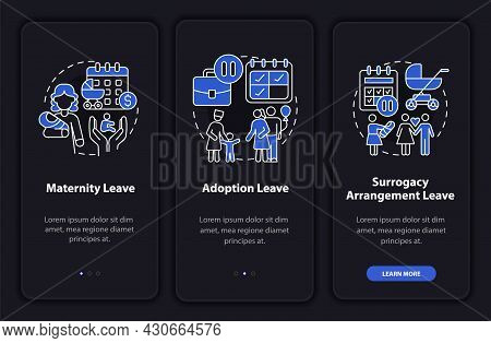 Maternity Leave Types Dark Onboarding Mobileapp Page Screen. Walkthrough 3 Steps Graphic Instruction