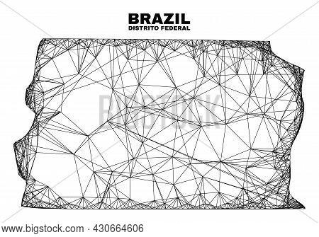 Carcass Irregular Mesh Brazil Distrito Federal Map. Abstract Lines Are Combined Into Brazil Distrito