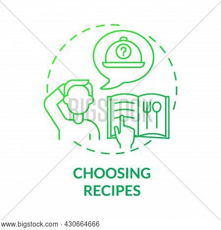 Choosing Recipes Green Gradient Concept Icon. New Recipes For Balanced Nutrition Abstract Idea Thin