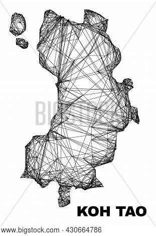 Wire Frame Irregular Mesh Koh Tao Map. Abstract Lines Form Koh Tao Map. Wire Frame 2d Net In Vector
