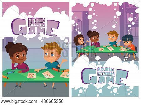 Brainstorm Game Posters With Thinking Children In School. Concept Of Brainstorming, Teamwork And Con