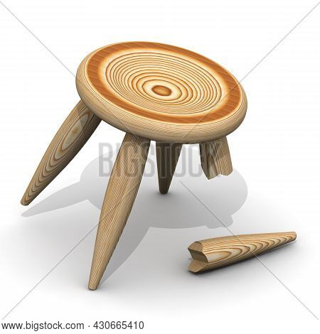 Wooden Stool With A Broken Leg On A White Surface. 3d Illustration