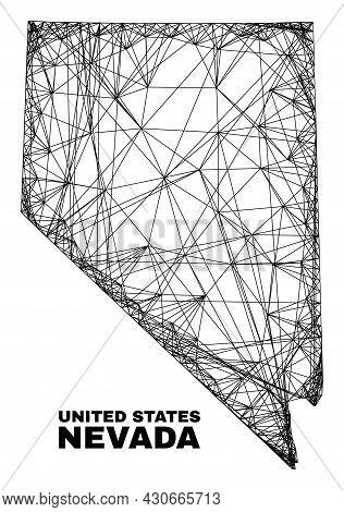 Wire Frame Irregular Mesh Nevada State Map. Abstract Lines Form Nevada State Map. Wire Frame 2d Netw