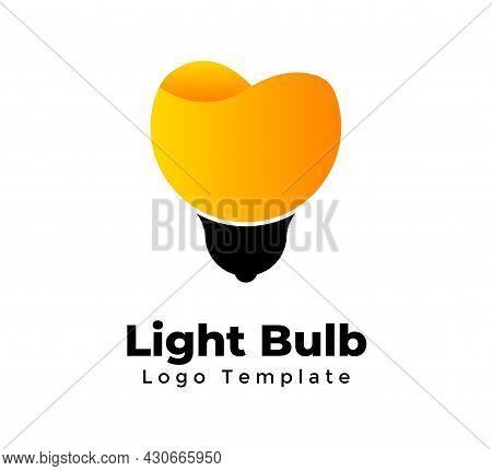 Light Bulb Vector Logo Template. Abstract Creative Sign. Idea Concept. Orange Juice. Modern Minimali
