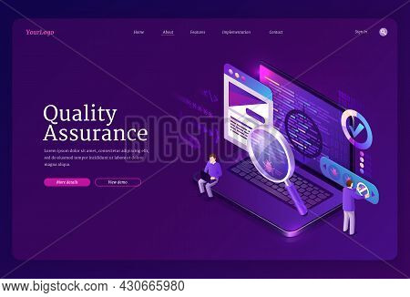 Quality Assurance Isometric Landing Page. Tiny Characters Fixing Bugs On Huge Pc. Qa Software Develo