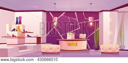 Shoes Store Interior With Women Footwear On Shelves. Vector Cartoon Illustration Of Empty Boutique I