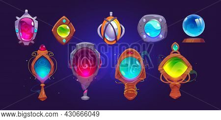 Magic Amulets, Mirrors And Glass Sphere. Vector Cartoon Icons Set, Gui Elements For Game About Witch
