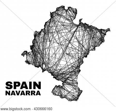 Wire Frame Irregular Mesh Navarra Province Map. Abstract Lines Are Combined Into Navarra Province Ma