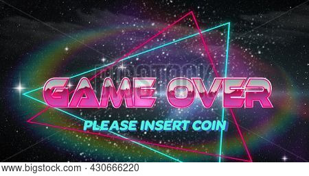 Image of image screen with Game Over Please Insert Coin text written in metallic letters and neon triangles on black background. Vintage image game entertainment concept digitally generated image.