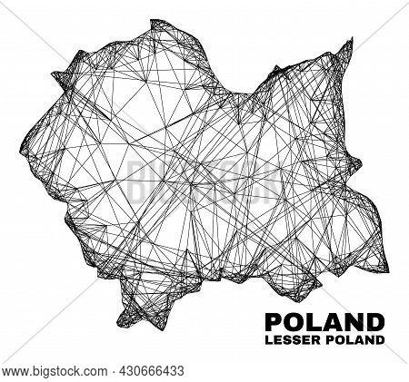 Wire Frame Irregular Mesh Lesser Poland Voivodeship Map. Abstract Lines Form Lesser Poland Voivodesh