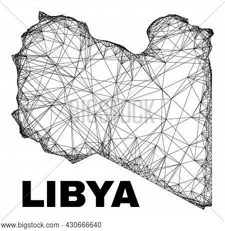 Carcass Irregular Mesh Libya Map. Abstract Lines Form Libya Map. Linear Carcass 2d Network In Vector