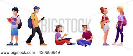 University Student Set Isolated Cartoon People. Young Man And Woman Reads Books, Walk With Smartphon