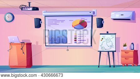 Interior Of Modern Classroom Of School, College Or University. Empty Room With Whiteboard And Charts