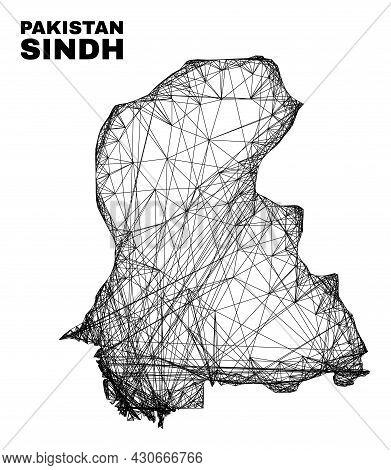 Net Irregular Mesh Sindh Province Map. Abstract Lines Form Sindh Province Map. Linear Carcass 2d Net