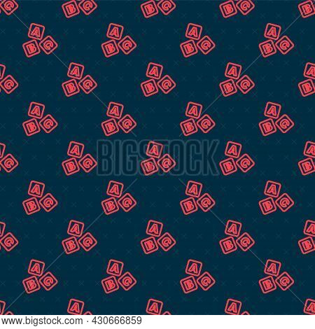 Red Line Abc Blocks Icon Isolated Seamless Pattern On Black Background. Alphabet Cubes With Letters