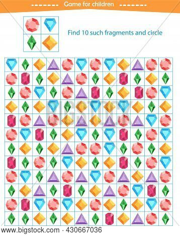 A Game For Children. Find Fragments From Crystals Given In A Sample. Development Of Attention, Think