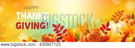 Happy Thanksgiving Background With Autumn Leaves, Yellow And White Pumpkins. 3d Realistic Vector Ill