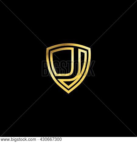 Gold Shield With Letter J, Luxury Logo With Letter J. Logo For Your Company. Letter Shield Logo Desi