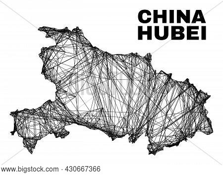 Wire Frame Irregular Mesh Hubei Province Map. Abstract Lines Are Combined Into Hubei Province Map. W