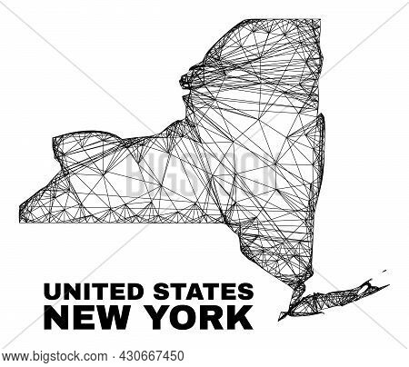 Net Irregular Mesh New York State Map. Abstract Lines Form New York State Map. Wire Carcass Flat Net
