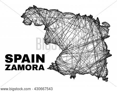 Net Irregular Mesh Zamora Province Map. Abstract Lines Are Combined Into Zamora Province Map. Wire C