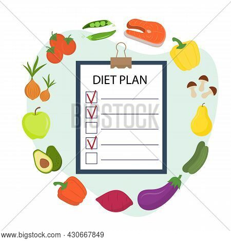 Healthy Eating Plan. Diet Planning. Weight Loss Concept. Diet Planner With Paper On Clipboard And Fr