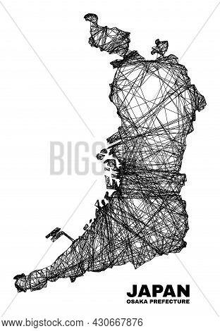 Wire Frame Irregular Mesh Osaka Prefecture Map. Abstract Lines Form Osaka Prefecture Map. Wire Carca