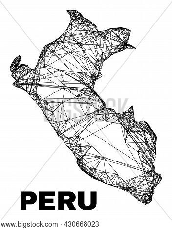 Wire Frame Irregular Mesh Peru Map. Abstract Lines Form Peru Map. Wire Frame Flat Net In Vector Form