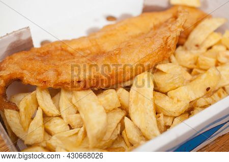 Fish And Chips From An English Fish And Chip Shop