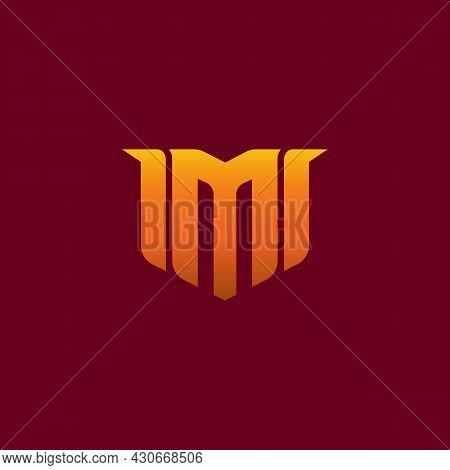 Letter M Gaming Esport Logo Design. Creative Logo On Maroon Background. E-sport Letter Logo Design C