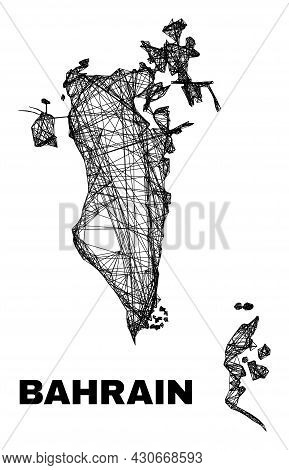 Carcass Irregular Mesh Bahrain Map. Abstract Lines Are Combined Into Bahrain Map. Wire Carcass Flat