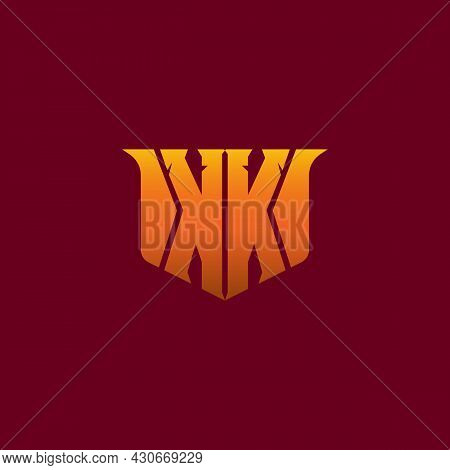 Mirror Letter Kk With Yellow Orange Effect. Logo For Game, Hobby, Military Or Fashion Business . E-s