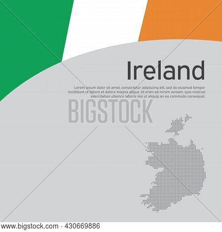 Republic Of Ireland Wavy Flag And Mosaic Map. Creative Background For Patriotic, Festive Ireland Car