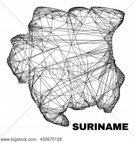 Wire Frame Irregular Mesh Suriname Map. Abstract Lines Are Combined Into Suriname Map. Wire Carcass