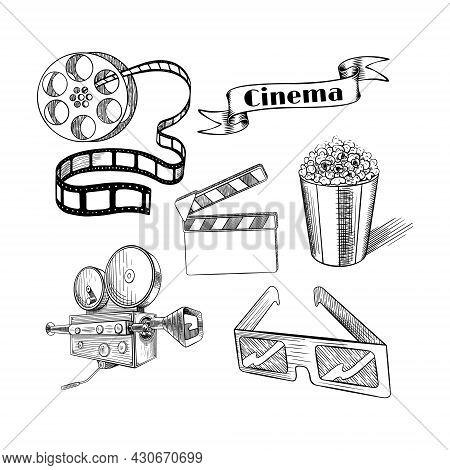 Old Fashion Sketchy Cinema Set. Doodle Film Objects Collection. Vector Illustration.