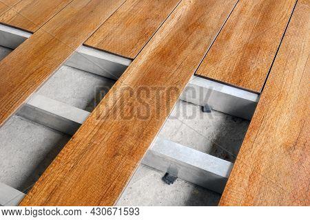 Flooring Installation Work Construction Home Renovation Building Wood Deck Plank Wooden Floor Coveri
