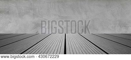 Panorama Of Empty Room Dark Cement Wall Cover With Floor Wood Table. Gray Wood Table Dark Background