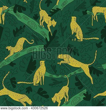 Dark Green Jungle Repeat Pattern Mustard Cheetah