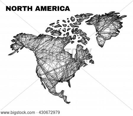 Net Irregular Mesh North America Map. Abstract Lines Are Combined Into North America Map. Wire Carca