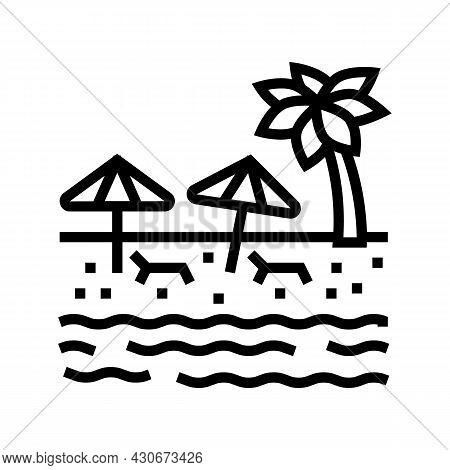 Beach Sandy Resort Line Icon Vector. Beach Sandy Resort Sign. Isolated Contour Symbol Black Illustra