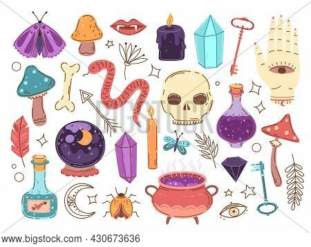 Doodle Occult Elements. Hand Drawn Stickers, Wizard Boho Signs. Alchemy Or Fairy Symbols, Potion In