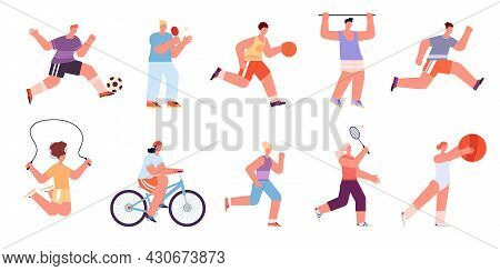 Sport Workout Characters. Male Jogging, Sports Exercises Doing. Badminton Player, Fitness Training P