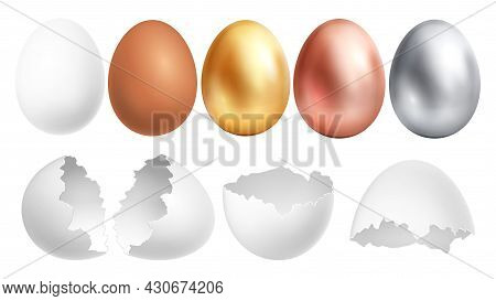 Realistic Eggs. White Egg And Broken Shell, Golden Silver Bronze Easter Hunting Elements. Farm Produ