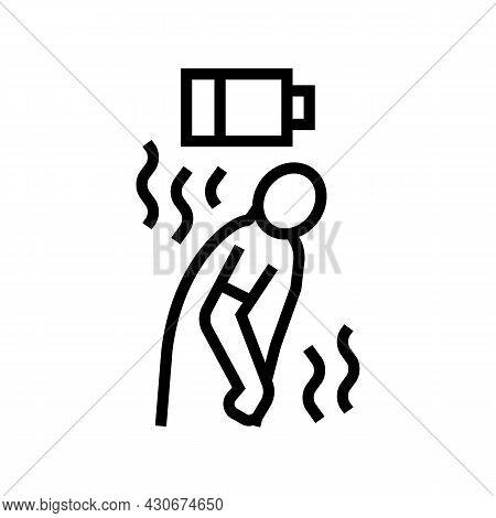 Fatigue Human Hepatitis Line Icon Vector. Fatigue Human Hepatitis Sign. Isolated Contour Symbol Blac