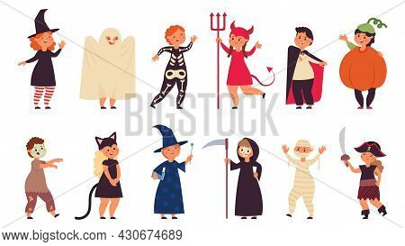 Halloween Costumes Kid. Costume Group Children, Kids Celebration Party. Zombie Child, Pirate Little