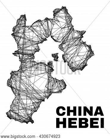 Carcass Irregular Mesh Hebei Province Map. Abstract Lines Form Hebei Province Map. Wire Carcass Flat