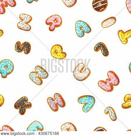 Glazed Cookies. Baked Biscuits Letters, Numbers Seamless Pattern. Sweet Bakery Print, Dessert Vector