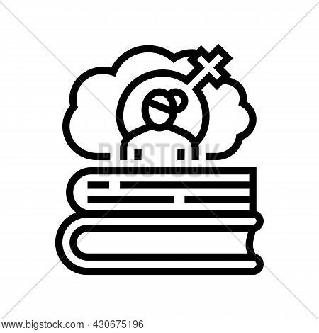 Women History Line Icon Vector. Women History Sign. Isolated Contour Symbol Black Illustration